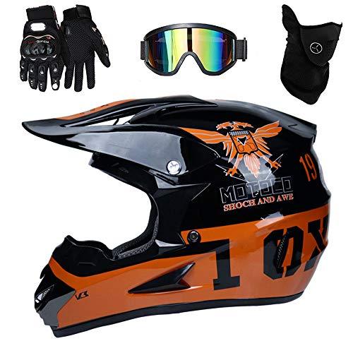 PKFG® AO-326 Full face Motocross Helm, Adult Helm Sport Adventure Enduro Motorradhelme Motocross Schutzhelm Unisex MTB Schutz Sicherheit Helm mit Handschuhe Maske Brille,XL58~59CM Adventure Handschuhe