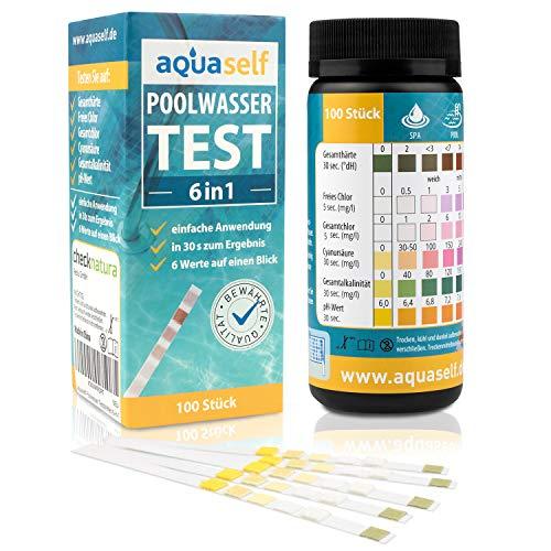 aquaself Poolwasser-Test 6-in-1 - Wassertester für Pool auf pH, freies Chlor, Gesamtchlor, GH, Cyanursäure, Gesamtalkalinität - 100 Stück Wasserteststreifen - inkl. gratis E-Book -