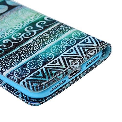 Mavis's Diary Étui iPhone 7 Coque en Cuir Chat Dessin Housse Portefeuille Fente de Carte Étui à Rabat Fermeture Magnétique Flip Phone Case Cover+Chiffon motif 10