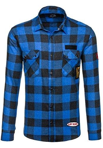 BOLF – La chemise en flanelle – avec manches longues – Slim fit – Homme 2B2 Bleu