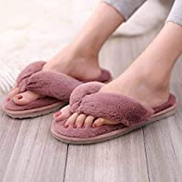 Pink Fluffy Slippers Women, Fur Slides Winter Flip Flops Warm Comfortable Fluffy Furry Slippers Lady House Soft Shoes Flat Shoes for Indoor Outdoor Flat Sandals Ladies Flip Flop