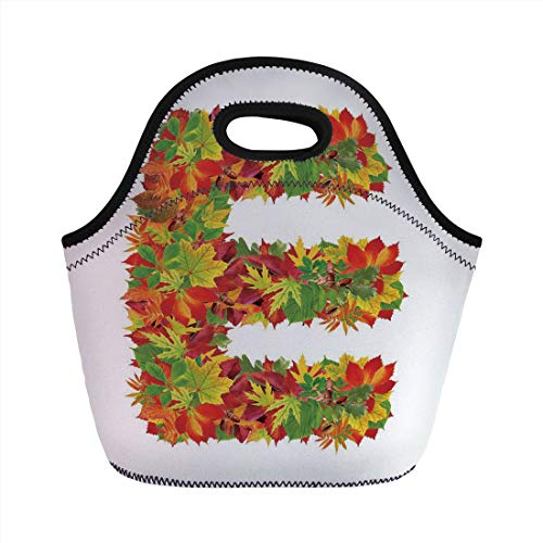 Jieaiuoo Portable Lunch Bag,Letter E,Chestnut Maple Leaves Natural Oak Petals Vibrant Colors E Symbol Print,Vermilion Yellow Green,for Kids Adult Thermal Insulated Tote Bags -