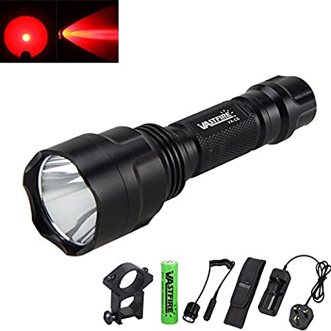 VastFire C8 600 Lumens Bright LED Flashlight Red Light Torch Tactical FlashLight Lamp+ Gun Mount+ Remote Pressure Switch+ 1 x 18650 Rechargeable Battery+ Battery Charger (Red Lighting & Gun Clip)