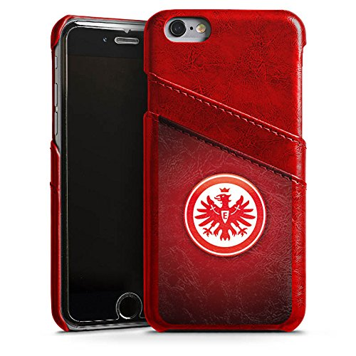 Apple iPhone 7 Lederhülle Leder Case Leder Handyhülle Eintracht Frankfurt Fanartikel SGE Bundesliga Leder Case Rubinrot