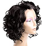 Court Bob perruques pour les femmes noires du corps de dentelle de vague synthétique perruque d'avant L shapped avec naturel Hairline Fluffy noire perruque bouclée