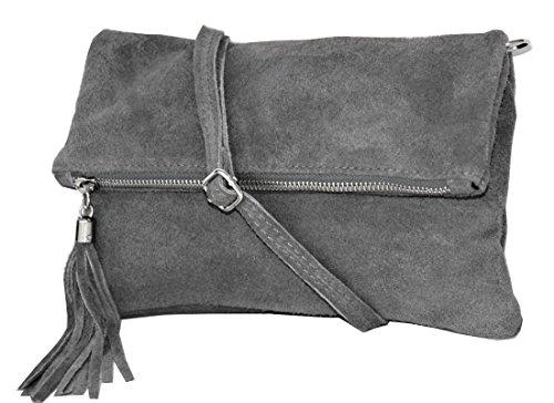 Clutch ,Borse a spalla (28 / 19 / 4 cm ) in pelle Mod. 2059 by Fashion-Formel WL-Grigio