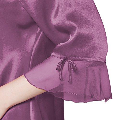 LILYSILK Ensemble de Pyjama Femme en 100% Soie Ourlet Évasé 22 Momme Violet