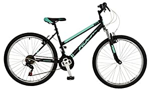 """Falcon Vienne Womens' Mountain Bike Black/Teal, 17"""" inch steel frame, 18-speed Shimano rear derailleur and micro-shift rotational shifters strong and lightweight deep-section alloy wheel rims"""
