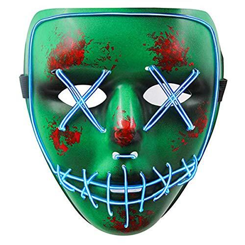(Neusky LED LEUCHT Maske, 3 Verschiedene Blinkmodi Elektronik Maske, Party Leuchtmaske (Grün-Blau))