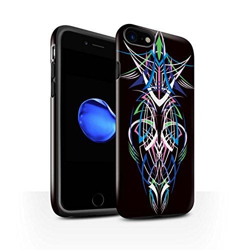 STUFF4 Glanz Harten Stoßfest Hülle / Case für Apple iPhone 8 / Blau/Grün Muster / Stammes-Nadelstreifen Kollektion Blau/Grün