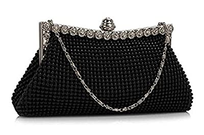 ele ELEOPTION Womens Beautiful Sparkly Crystal Satin Evening Party Clutch Bag Wedding Handbag for Ladies