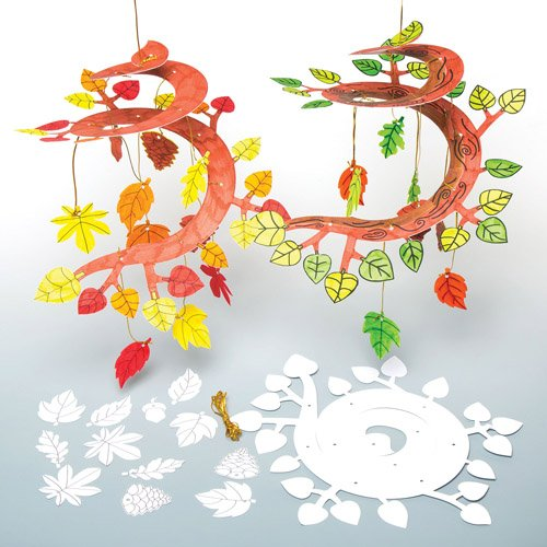 Sculture mobili autunnali a spirale da colorare set for Mobile per bambini