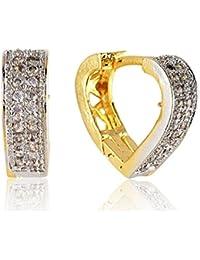 SKN Silver And Golden American Diamond Ear Clip Bali Earrings For Women & Girls (SKN-1360)