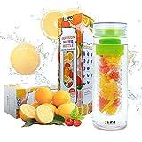 Trinkflasche mit früchtebehälter - 750ml/27oz mit kostenlosem Rezepte eBook - EMPO BPA Freies Tritan Sportflasche - Langlebig und leicht - Grün -