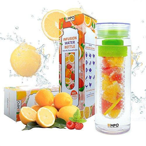 Image of Trinkflasche mit früchtebehälter - 750ml/27oz mit kostenlosem Rezepte eBook - EMPO BPA Freies Tritan Sportflasche - Langlebig und leicht - Grün