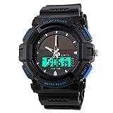 Persönlichkeit Solar Uhr Mode Elektronik Dual Display Wasserdicht Outdoor Sport Männliche Uhr Student Uhr,Blue