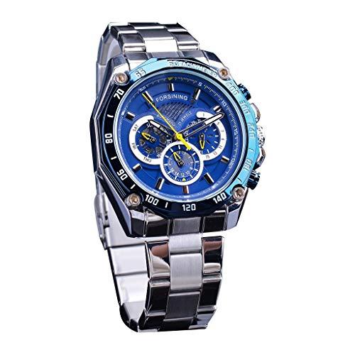 HULKY Herren Business Uhr Mode Forsining Hohlzifferblatt Design DREI Auge Sechs Nadel Männlich Automatische Mechanische Armbanduhr(Blau 1) -