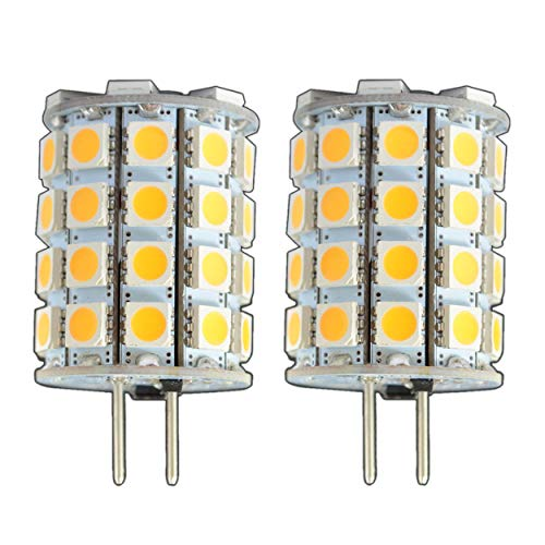 2x Stück - G6.35/GX6.35 LED 6 Watt 49x 5050 SMDs warmweiß A++ 12V~ AC/DC Wechselspannung 330° Stiftsockel Leuchtmittel Lampensockel Spot Halogenersatz Halogen Lampe [Energieklasse A++] -