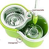 YANHTSO Fauler Mopp 360 Grad-Umdrehungsfrei Handwäsche nass Dual-Use-Mopp Doppelantrieb Handdruck Automatischer trockener Haushalts-Mopp-Eimer (Farbe : Green)