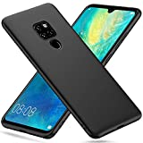 Peakally Cover per Huawei Mate 20 in TPU Nero Opaco, Morbido TPU Custodia Cover Slim Anti Scivolo Custodia Protezione Posteriore Cover Antiurto per Huawei Mate 20-Nero