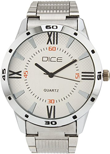 "Dice ""Numbers 4285"" Formal Round Shaped Wrist Watch for Men. Fitted with Beautiful White Dial, Stainless Steel Case and Chain"