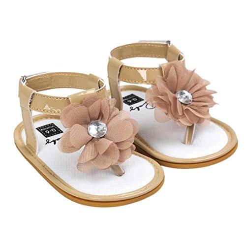 Igemy Baby Blume Perle Sandalen Kleinkind Prinzessin Zuerst Wanderer Mädchen Kind Schuhe Khaki