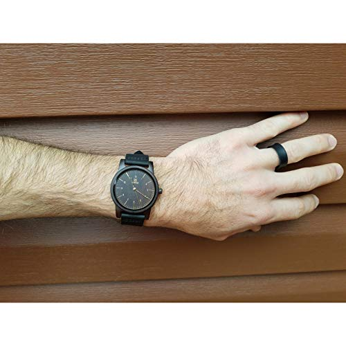 MUJUZE Herren Analoge Japanisch Quarzwerk 40mm Sandelholz Ziffernblatt Holzuhren  mit Schwarz Leder Armband - 2