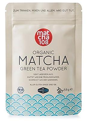 Matcha 108 - Thé matcha de qualité premium/Thé vert issu de l'agriculture biologique contrôlée - 58g de - Ceremonial Grade - Thé vert en poudre 100% bio