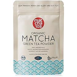 Matcha 108-58g Matcha Tee in Premium Qualität/Grüner Tee aus kontrolliertem Bio Anbau - Ceremonial Grade - Grüntee-Pulver ohne Zwischenhandel