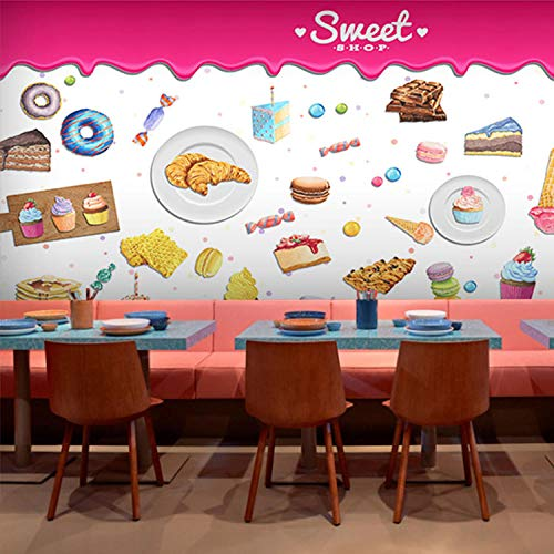 3D Tapete Fototapete Dessert Kuchen Gourmet-Thema Restaurant Tapete Konditorei Dessert Kaffee Dessert Snack Bar Fototapete,450X300cm