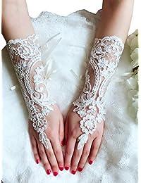 Lemandy 1 parie gants de mariage en dentelle pour mariée ivoire03