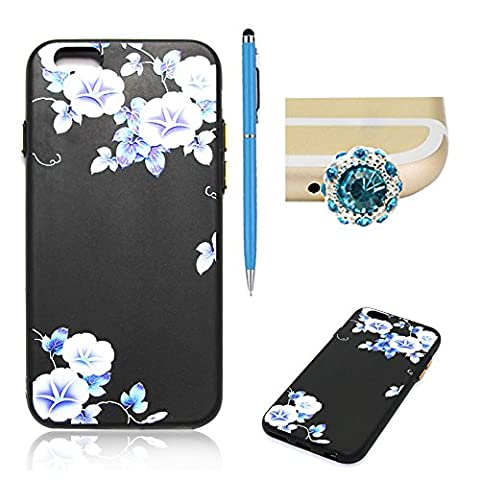 SKYXD iPhone 6 Plus/ 6S Plus Silicone Case,Vintage Floral Flower Collection Soft Gel TPU Skin Protective Bumper Black Background Morning glory Design Cover For iPhone 6 Plus/ 6S Plus 5.5