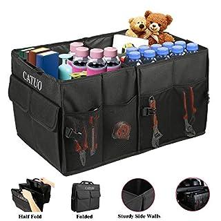 OUTAD Kofferraum Organizer Oxford-Polyester Faltbox Kofferraumtasche Tragbare Box mit zwei Fächern mit 8 zusätzlichen Taschen für Auto, Kofferraum, Minivan, SUV Lagerung, Haltbar und wasserdicht