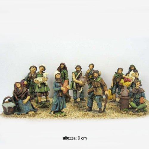 Statuine presepe soortimento pastori 9 cm assortimento 12 pezzi versione economica cod 0751 adatto a chi realizza presepi