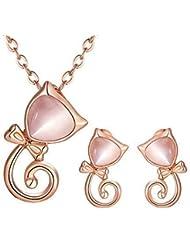 Sasavie Juegos de joyas Pendientes /Cristal Colgante Collar y Pendientes Gato