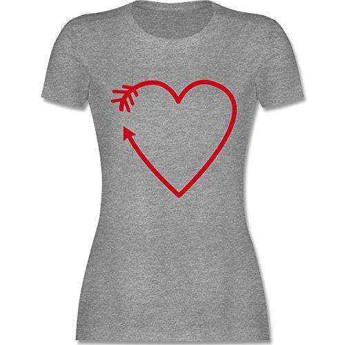 Shirtracer Romantisch - Herz Pfeil - Damen T-Shirt Rundhals Grau Meliert