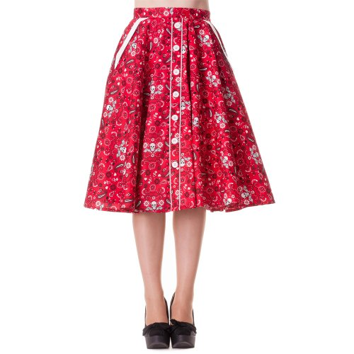Hell Bunny Rock BANDANA 50'S Skirt red Red