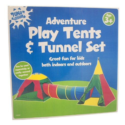 Fun & Leisure Adventure Play Tents and Tunnel Set *3 Piece Set* INDOOR OUTDOOR by Bid Buy Direct