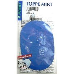 TOPPE Termoadesivi MARBET maglina Bluette blu azzurro mini 13 x 8,5cm ovale toppa bambini 2M 025