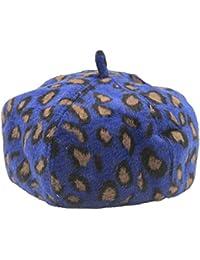 Lawevan Unisex Hombres Mujeres impreso leopardo del sombrero superior de boinas
