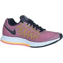 NIKE Womens Air Zoom Pegasus 32 Running Trainers 749344 Sneakers Shoes (US 7, Tumbled Grey Black Laser Orange Pink Power 008)