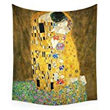 ZGQQQ Gustav Klimt Die Kiss Wall Tapestry Fabric Wall Hanging Tapestry Polyester Vorhänge Plus Long Table Cover 150 * 230CM