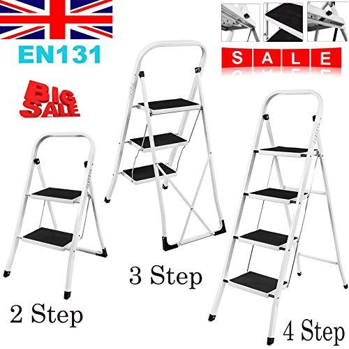 Escalera plegable de 2 3 y 4 peldaños, alfombrilla antideslizante, de hierro, fuerte y segura