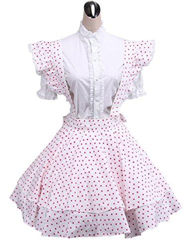 antaina Weiß Baumwolle Rosa Tupfen süß viktorianisch Maid Knielang Elegant Lolita Cosplay ()