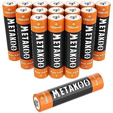 Metakoo Ni-MH AAA Batterie Ricaricabili (8 pezzi) 1000mAh Ultra-efficiente