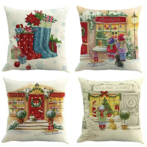 Longra 4er Set Weihnachts Kissenbezüge Kissenhüllen mit 4 Motiven Designs Weihnachtliche Dekokissen, Sofakissen und kopfkissenbezug mit Weihnachtsmotiven, 45x45 cm (D)