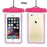 Universal Wasserdichte Schutzhülle, casehq Handy Dry Bag Pouch für iPhone 76S 6Plus, SE 5S 5C 5, Galaxy S8S7S6Edge, Note 54, LG G6G5, HTC 10, Sony Nokia bis 15,2cm Diagonal, Pink 3Pack