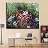 Ölgemälde nach Zahlen Kits Färbung handbemalt schöne Sikahirsch Kuh ered auf den Blumen Gras Bild auf Leinwand Home Decor-50x70cm kein Rahmen