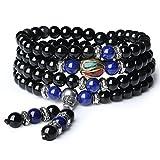 COAI 108 Perlen Multilayer Lapislazuli und Obsidian Mala Wickelarmband Gebetskette für Damen/Herren