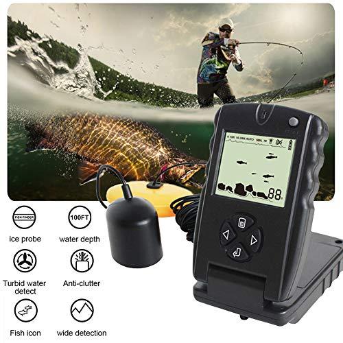 H&L Sonar Fish Finders 100ft Portable Finder Fishing Lure Echo Sounder Fishing Transducer Detector Fish Icon trüben Wasser erkennen Eissonde